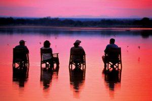 Nkwali Camp zonsondergang, zonsondergang Zambia