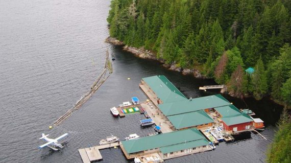 Knight Inlet Lodge vanuit de lucht